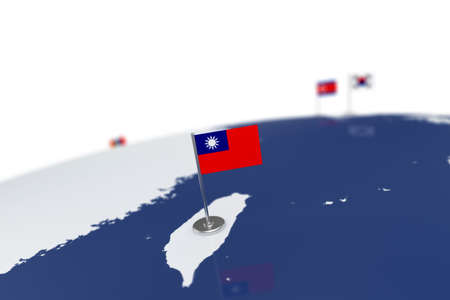 Taiwan flag. Country flag with chrome flagpole on the world map with neighbors countries borders. 3d illustration rendering flag Stock Photo