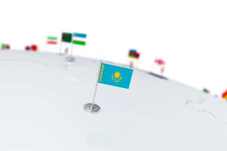 Kazakhstan flag. Country flag with chrome flagpole on the world map with neighbors countries borders. 3d illustration rendering