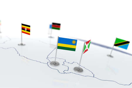 Rwanda flag. Country flag with chrome flagpole on the world map with neighbors countries borders. 3d illustration rendering flag Stock Photo