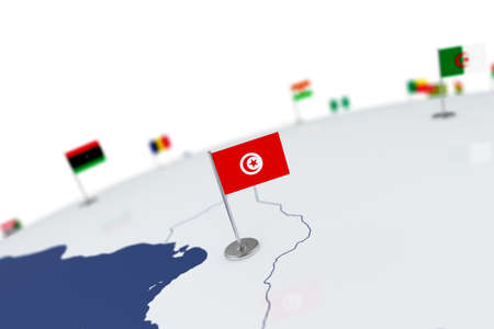 Tunisia flag. Country flag with chrome flagpole on the world map with neighbors countries borders. 3d illustration rendering flag