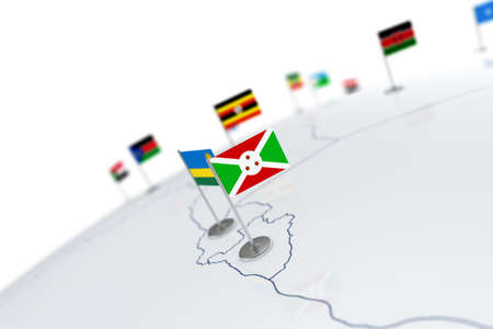 Burundi flag. Country flag with chrome flagpole on the world map with neighbors countries borders. 3d illustration rendering