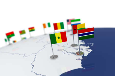 Senegal flag. Country flag with chrome flagpole on the world map with neighbors countries borders. 3d illustration rendering flag