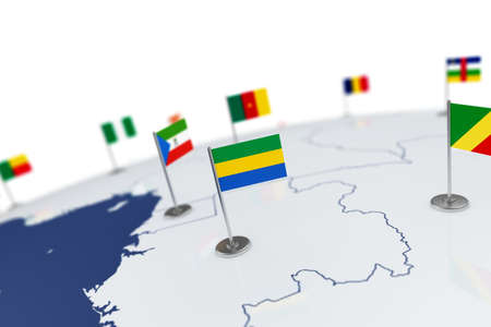 Gabon flag. Country flag with chrome flagpole on the world map with neighbors countries borders. 3d illustration rendering flag Stock Photo