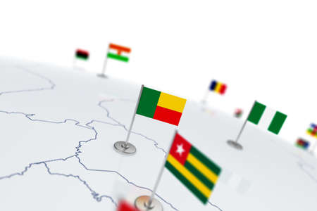 Benin flag. Country flag with chrome flagpole on the world map with neighbors countries borders. 3d illustration rendering