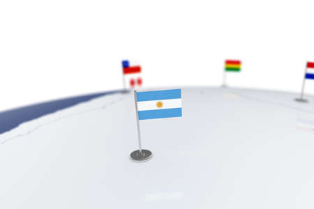 Argentina flag. Country flag with chrome flagpole on the world map with neighbors countries borders. 3d illustration rendering