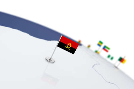Angolal flag. Country flag with chrome flagpole on the world map with neighbors countries borders. 3d illustration rendering flag