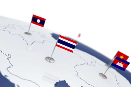 Thailand flag. Country flag with chrome flagpole on the world map with neighbors countries borders. 3d illustration rendering flag