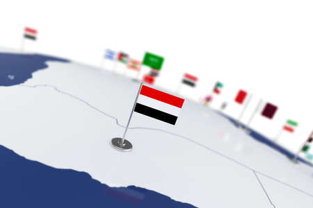 Yemen flag. Country flag with chrome flagpole on the world map with neighbors countries borders. 3d illustration rendering flag Stok Fotoğraf