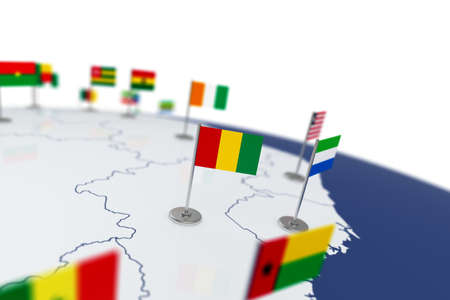 Guinea flag. Country flag with chrome flagpole on the world map with neighbors countries borders. 3d illustration rendering