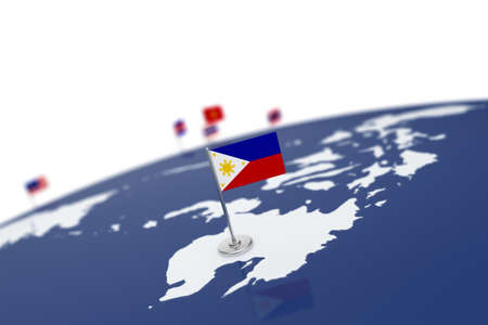 Philippines flag. Country flag with chrome flagpole on the world map with neighbors countries borders. 3d illustration rendering flag