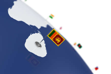 Sri lanka flag. Country flag with chrome flagpole on the world map with neighbors countries borders. 3d illustration rendering flag Stock Photo