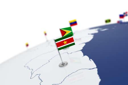 Bandera De Surinam Bandera De Pais Con Asta De Bandera Cromada En