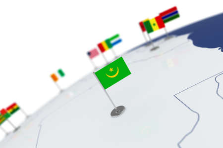 Mauritania flag. Country flag with chrome flagpole on the world map with neighbors countries borders. 3d illustration rendering