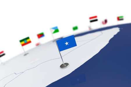 Somalia flag. Country flag with chrome flagpole on the world map with neighbors countries borders. 3d illustration rendering flag
