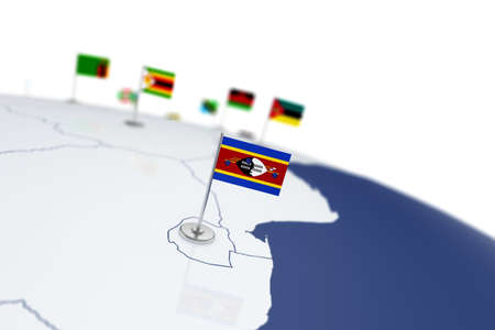 Swaziland flag. Country flag with chrome flagpole on the world map with neighbors countries borders. 3d illustration rendering flag Stock Photo
