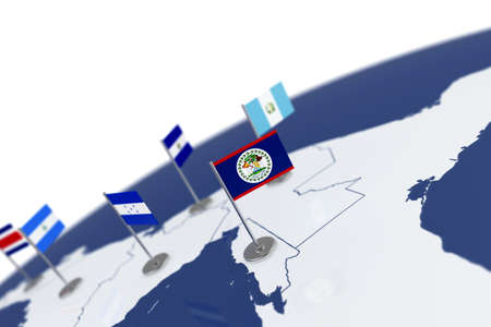 Belize flag country flag with chrome flagpole on the world map belize flag country flag with chrome flagpole on the world map with neighbors countries borders gumiabroncs Images