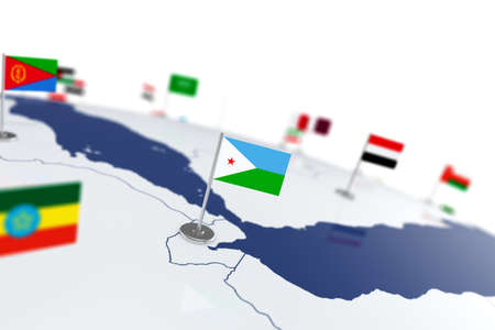 Djibouti flag. Country flag with chrome flagpole on the world map with neighbors countries borders. 3d illustration rendering flag