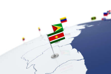 Suriname flag. Country flag with chrome flagpole on the world map with neighbors countries borders. 3d illustration rendering flag