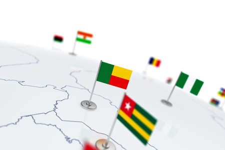 Benin flag. Country flag with chrome flagpole on the world map with neighbors countries borders. 3d illustration rendering flag Stock Photo