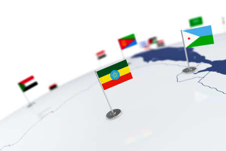 Ethiopia flag. Country flag with chrome flagpole on the world map with neighbors countries borders. 3d illustration rendering flag Stock Photo