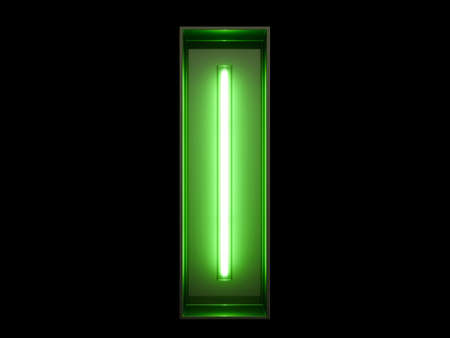 Neon green light alphabet character I font. Neon tube letters glow effect on black background. 3d rendering