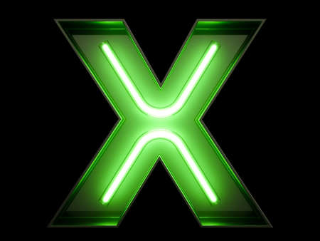 Neon green light alphabet character X font. Neon tube letters glow effect on black background. 3d rendering