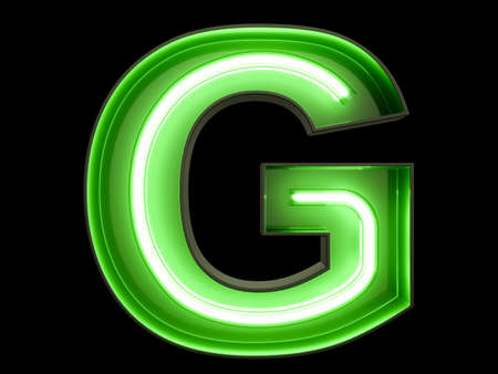 Neon green light alphabet character G font. Neon tube letters glow effect on black background. 3d rendering