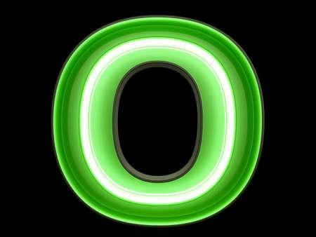 Luz de neón verde alfabeto carácter O fuente. Las letras del tubo de neón brillan efecto sobre fondo negro. Representación 3d