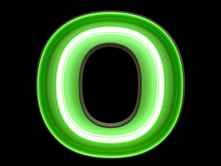Neon green light alphabet character O font. Neon tube letters glow effect on black background. 3d rendering