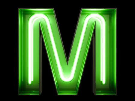 Neon green light alphabet character M font. Neon tube letters glow effect on black background. 3d rendering Stock Photo