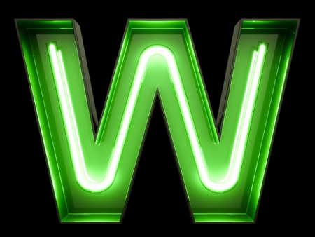 Neon green light alphabet character W font. Neon tube letters glow effect on black background. 3d rendering Stock fotó