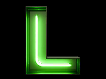 Neon green light tube in the shape of an alphabet L font.