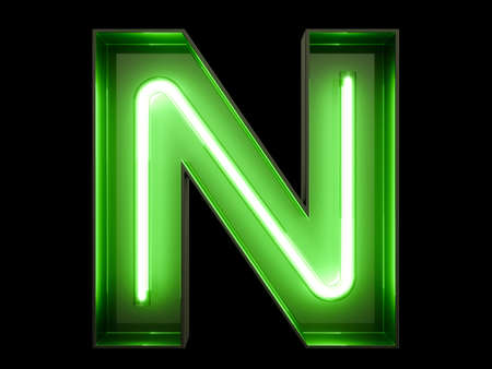 Neon green light tube in the shape of an alphabet N font. Stock Photo
