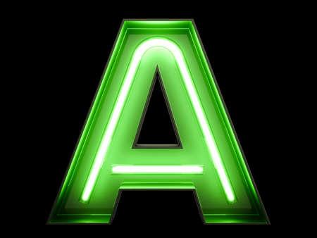 Neongrünlicht-Alphabetzeichen Eine Schriftart. Neonröhre beschriftet Glüheneffekt auf schwarzen Hintergrund. 3D-Rendering