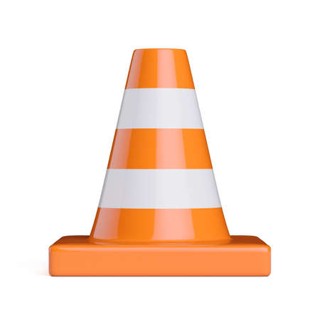 Traffic road cone front view. Road sign isolated on white background. 3d rendering illustration Stockfoto