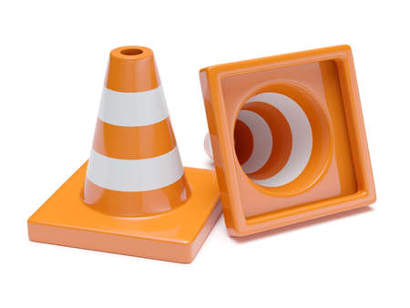 Traffic road cones. Road signs isolated on white background. 3d rendering illustration