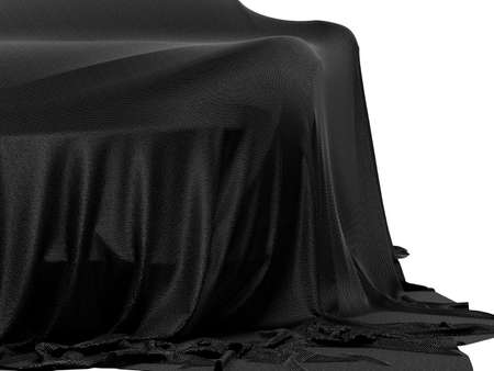 New racing design car covered with black cloth. 3d rendering illustration. Shallow DOF, shallow focus Stock Photo