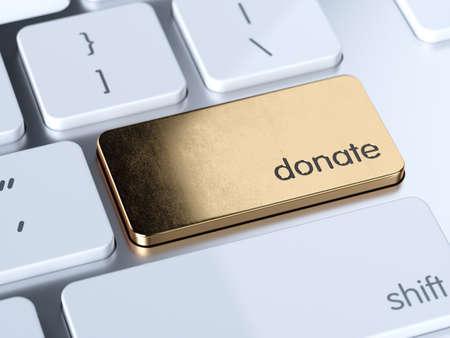 Online donate computer golden keyboard button. 3d  rendering illustration 版權商用圖片