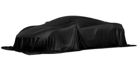 New racing design car covered with black cloth. 3d rendering illustration 免版税图像