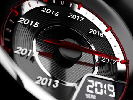 3d illustrazione del tachimetro auto anno 2019. Concetto di conto alla rovescia
