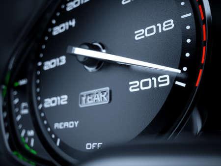 Concetto di conto alla rovescia del tachimetro dell'automobile di anno 2019. Illustrazione di rendering 3D