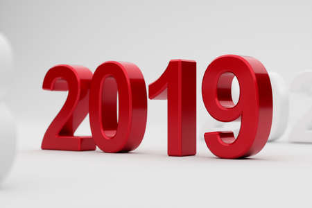 3d illustration of 2019 year on white background. Soft focus