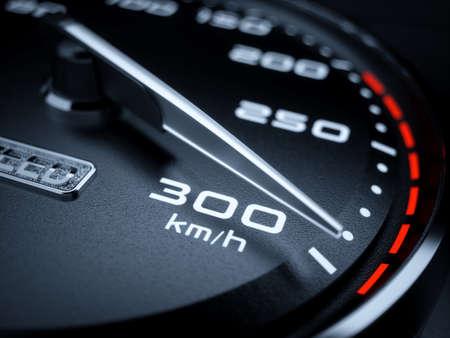 Car speedometer 3d rendering illustration. High speed concept. 300 kmh