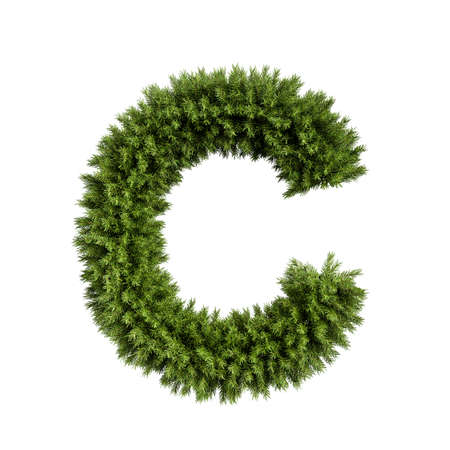 Christmas alphabet ABC character letter C font. Christmas tree branches capital letters decoration type. Highly realistic 3d rendering illustration. Text font isolated on white background Stock Photo