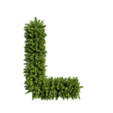 Christmas alphabet ABC character letter L font. Christmas tree branches capital letters decoration type. Highly realistic 3d rendering illustration. Text font isolated on white background