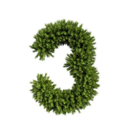 Boże Narodzenie alfabet ABC cyfra numer 3 trzy czcionki. Gałęzie choinkowe cyfry typu dekoracji. Bardzo realistyczna ilustracja renderowania 3d. Postać na białym tle