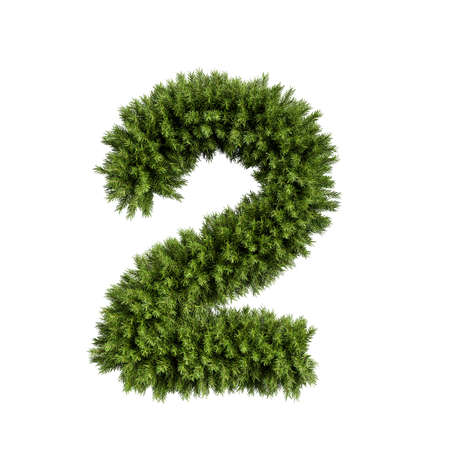 Christmas alphabet ABC digit number 2 two font. Christmas tree branches digits decoration type. Highly realistic 3d rendering illustration. Character isolated on white background