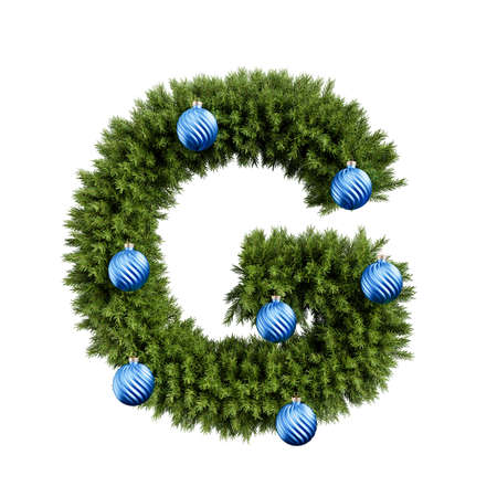 Christmas alphabet ABC character letter G font with Christmas ball. Christmas tree branches capital letters decoration type with Christmas sphere. Highly realistic 3d rendering illustration. Text font isolated on white background Archivio Fotografico