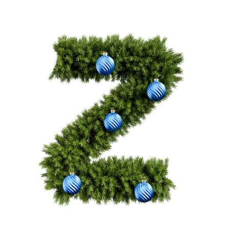 Christmas alphabet ABC character letter Z font with Christmas ball. Christmas tree branches capital letters decoration type with Christmas sphere. Highly realistic 3d rendering illustration. Text font isolated on white background