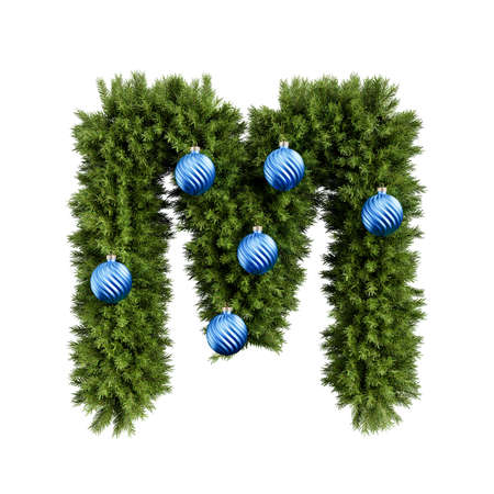 Christmas alphabet ABC character letter M font with Christmas ball. Christmas tree branches capital letters decoration type with Christmas sphere. Highly realistic 3d rendering illustration. Text font isolated on white background